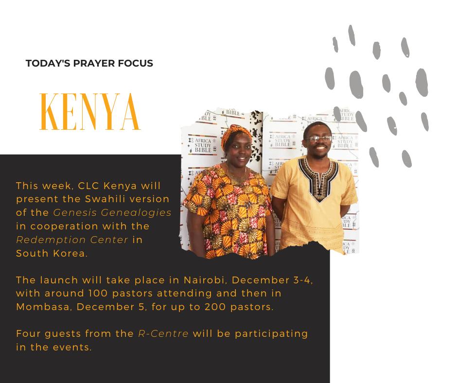 Monday (December 2) Prayer Focus for CLC Kenya