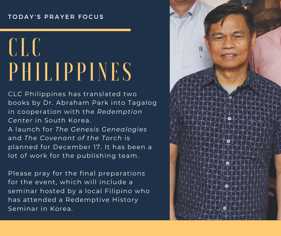 Wednesday (December 4) Prayer Focus for CLC Philippines