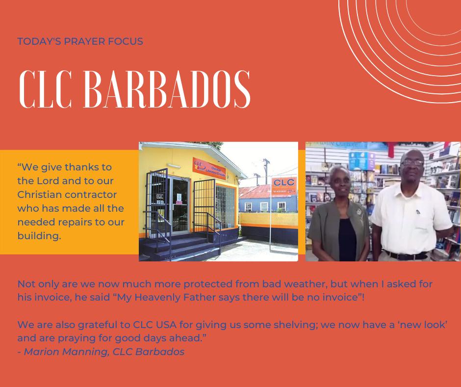 Wednesday (December 11, 2019) Prayer Focus for CLC Barbados