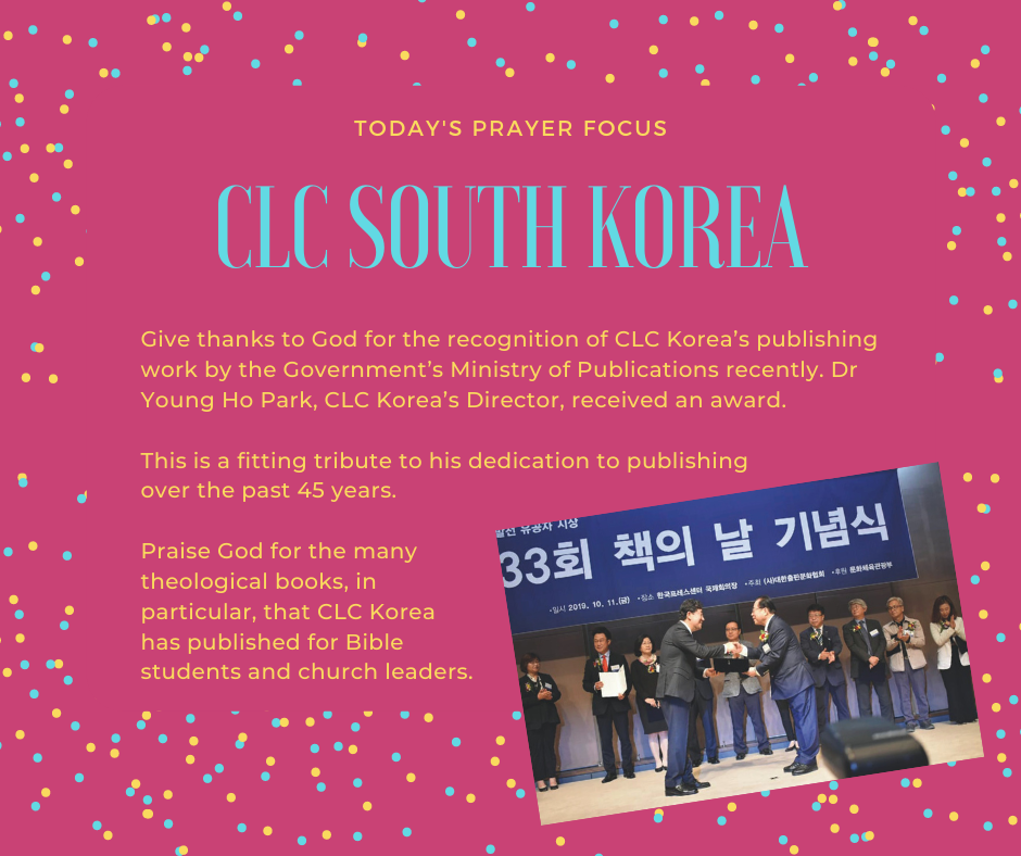 Tuesday (December 17, 2019) Prayer Focus for CLC South Korea