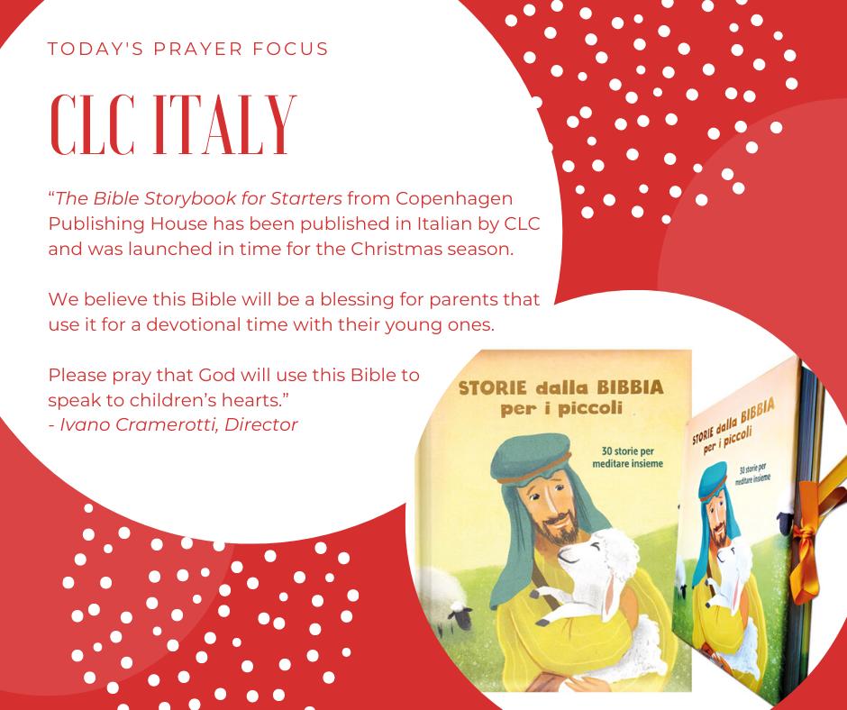Tuesday (December 24, 2019) Prayer Focus for CLC Italy