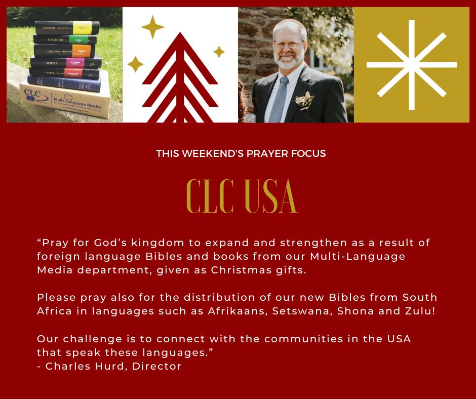Weekend (December 28-29, 2019) Prayer Focus for CLC USA
