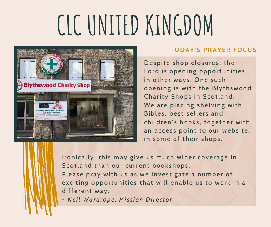 Friday (January 3) Prayer Focus for CLC United Kingdom