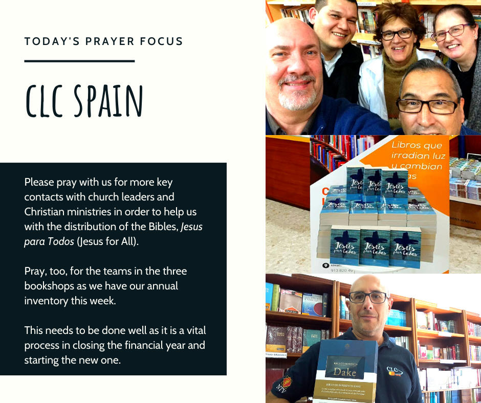 Monday (January 6) Prayer Focus for CLC Spain