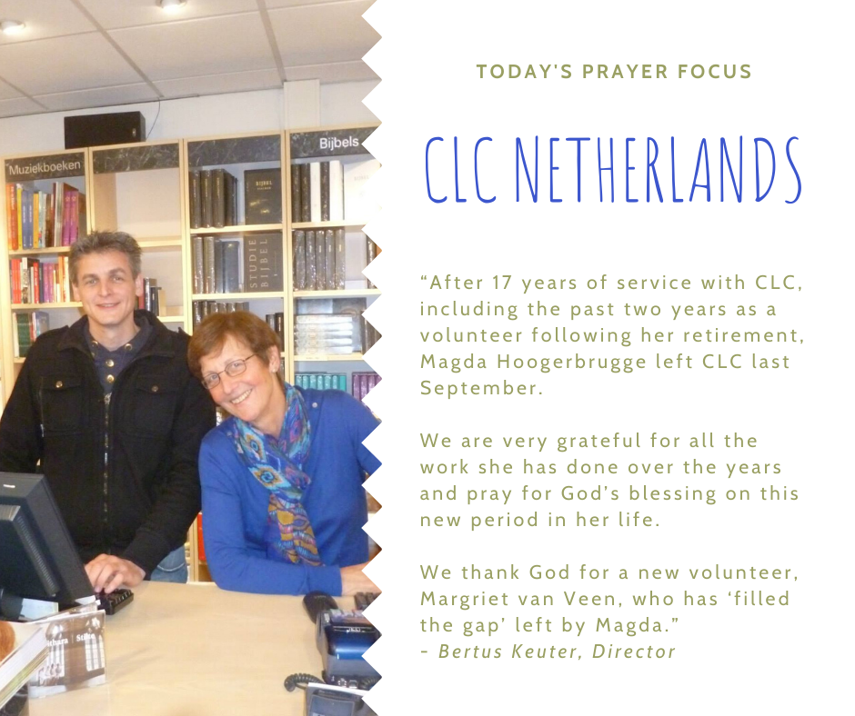 Tuesday (January 14) Prayer Focus for CLC Netherlands
