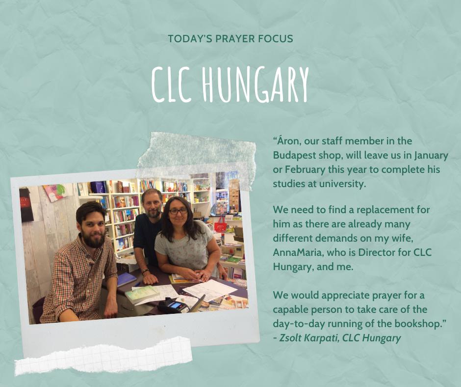 Wednesday (January 15) Prayer Focus for CLC Hungary