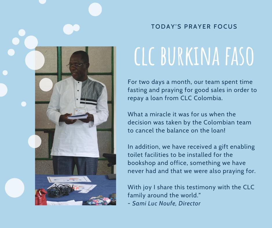 Monday (January 20) Prayer Focus for CLC Burkina Faso