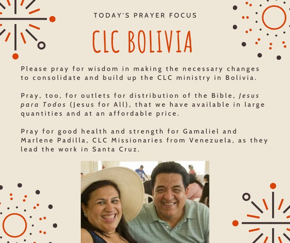 Thursday (January 30) Prayer Focus for CLC Bolivia