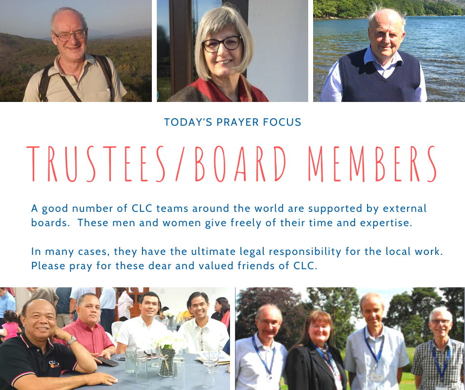 Wednesday (February 26) Prayer Focus for Trustees and Board Members