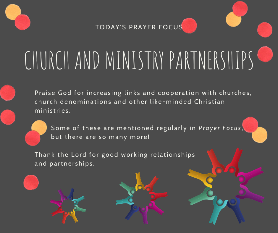 Thursday (February 27) Prayer Focus for Church and Ministry Partnerships